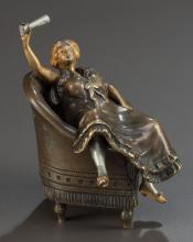 AN AUSTRIAN EROTIC COLD-PAINTED BRONZE FIGURE AFTER FRA
