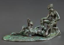 AN EROTIC COLD-PAINTED BRONZE FIGURAL GROUP AFTER FRANZ