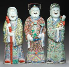 THREE CHINESE FAMILLE ROSE PORCELAIN IMMORTALS, Marks t