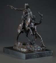 CARL KAUBA (Austrian, 1865-1922) Two Cowboys Bronze wit