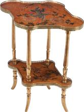 A  FRENCH JAPANESQUE PAINTED MAPLE AND BRASS TABLE, cir