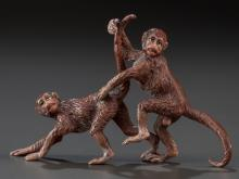 AN AUSTRIAN EROTIC COLD-PAINTED BRONZE MONKEY FIGURAL G