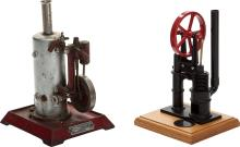 TWO LIVE STEAM MODEL VERTICAL ENGINES Height of taller:
