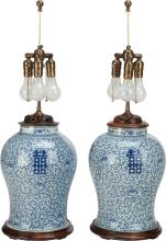 A PAIR OF CHINESE PORCELAIN VASES MOUNTED AS LAMPS, 20t