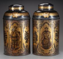 A PAIR OF CHINESE-STYLE PAINTED TOLE TEA CANISTERS WITH