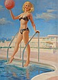 ART FRAHM (American, 1906-1981) A Bathing Beauty with B