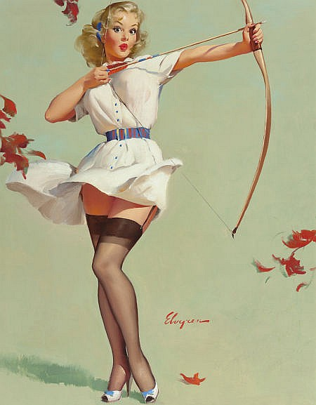 GIL ELVGREN (American, 1914-1980) Aiming High (Will Wil