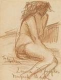 LAURA GLENN DOUGLAS (American, 1896-1996) Nude at Munich Baths, circa 1927 Conte crayon on paper 6 x 4-1/2 inches (15.2 x 11.4 cm) Signed and inscribed: To Helen/Laura Douglas/Munich Bath   PROVENANCE: Michael Meyer