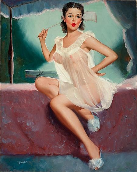 PETER DARRO (American, b. 1917) Pin-Up in a Negligee Oi