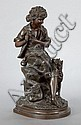 A FRENCH PATINATED BRONZE FIGURAL GROUP  After Eugene-A