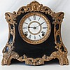 Ansonia Antique Black with Gold Tone Trim Mantel Clock