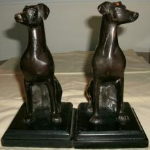 PAIR VINTAGE EARLY 20TH CENTURY FIGURAL BRONZE GREYHOUND / WHIPPET DOG BOOKENDS - SCULPTURE, STATUE