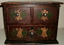 VINTAGE FOLK ART CARVED & PAINTED MINIATURE WOODEN CHEST - DOLL CHEST