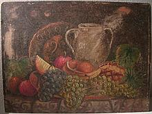 EARLY 20TH C FOLKY OIL ON BOARD STILL LIFE - FRUIT, DOUBLE HANDLED JUG & DECORATIVE PLATE