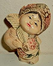VINTAGE EARLY 20TH CENTURY HAND CARVED IVORY FIGURAL  JAPANESE FIGURE /  BEAD - WOMAN OR CHILD - PAINTED DETAILS - SIGNED