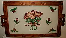 VINTAGE PRISON ART FOLK ART INLAID SERVING TRAY W/ FLORAL PAINTED REVERSE GLASS SURFACE - MOUNDSVILLE W. VIRGINIA STATE PRISON