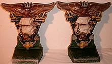 VINTAGE PAIR COLD PAINTED ALUMINUM BOOKENDS - EAGLES, SHIPS, ANCHORS, SABERS, TELESCOPE