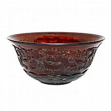 料彩撒金浮雕九龍大海碗 A Large Brown Glass Bowl with Gold Fleck and Carved with Nine Dragons Above Cresting Waves