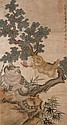 清 居廉 (1828 - 1904) 貓戲粉蝶 Ju Lian Qing Dynasty  Playful Cats