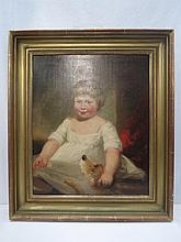 Circle of John Hoppner (1758 -1810), portrait of a boy with a dog, oil on canvas in gilt frame, provenance Christie's; sight size 59 x 49cm.