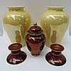 A Carlton ware rouge royale ginger jar together