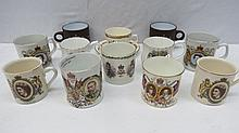 An Aynsley Coronation mug for King Edward VII as retailed by Whiteley of London, a Coronation mug for King George V retailed by Harrods, also another by Bishop & Stonier; also ten other royal commemoratives for QEII's reign. (Thirteen items).