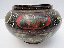 An Oriental cloisonne enamel bowl decorated with dragons and exotic birds, dia 18cm. AF.