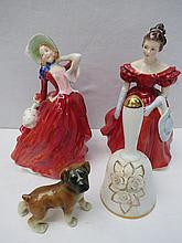Two Royal Doulton figurines: 'Winsome' H.N. 2220 (19.5cm high) and 'Autumn Breezes' H.N. 934 (19.5cm) together with a Crown Staffordshire bell (13cm high) and a ceramic West German made puppy (7.5cm high).