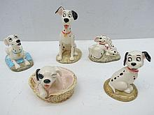 Five Royal Doulton 101 Dalmations figurines. 'Patch in basket', 'Perdita', 'Pongo', 'Lucky' and 'Penny and Freckles'. All in original boxes, Englishware.