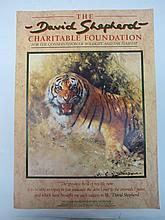 David Shepherd. Snarling tiger, signed lower left, colour print, unframed. 42 x 30cm.
