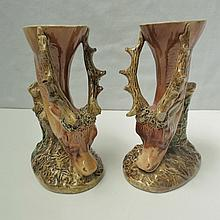 A pair of 19thC Majoilica ware trumpet vases both