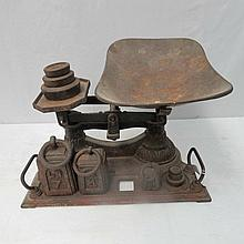 Victorian balance scales with traces of painted