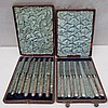 HM silver handled dessert or tea knives (2 x six)
