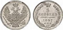 Russia.  Nicholas I, 1825-1855.  5 Kopecks 1847 (St.  Petersburg mint).