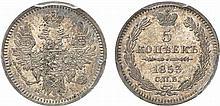 Russia.  Nicholas I, 1825-1855.  5 Kopecks 1853 (St.  Petersburg mint).