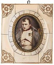 France.  Napoleon I, 1804-1814.  Napoleon's portrait miniature set into an ornamented ivory frame.