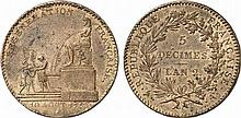 France.  Convention, 1792-1795.  5 Decimes