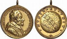 Italy.  Vatican.  Alexander VIII, 1689-1691.  Astronomy Bronze Medal by Hamerani, 1689.
