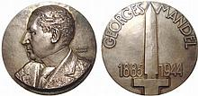 Judaica.  France.  Georges Mandel (Louis Georges Rothschild), 1885-1944.  Large Silver Medal by François Cogné.