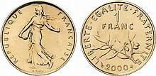 France.  Fifth Republic, 1959-.  Gold 1 Franc Semeuse, 2000.