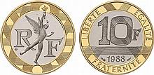 France.  Fifth Republic, 1959-.  Gold 10 Francs Génie, 1988.