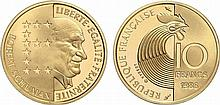 France.  Fifth Republic, 1959-.  Gold 10 Francs Schuman, 1986.