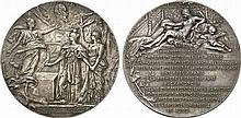 Russia.  Nicholas II, 1894-1917.  Inauguration of the Alexander III Bridge in Paris.  Silvered Bronze Medal by Dupuis, 1900.