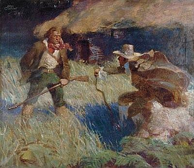 Dan Content 1902-1990 Story illustration: Confrontation outside a thatched roof house.