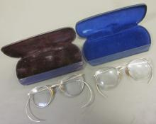 TWO PAIR ANTIQUE GOLD-FILLED EYEGLASSES WITH CASES