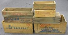 SEVEN ASSORTED CORNED BEEF AND CHEESE WOODEN ADVERTISING BOXES LARGEST IS 15.5