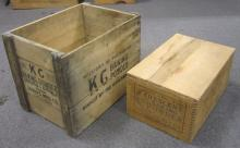 TWO VINTAGE WOODEN BAKING POWDER ADVERTISING CRATES K C AND CRESCENT LARGEST IS 19