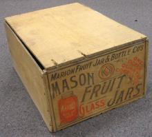 ANTIQUE MASON FRUIT JARS WOODEN ADVERTISING CRATE 17
