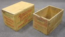 VINTAGE REMINGTON EXPRESS + PETERS EMPTY WOODEN AMMUNITION ADVERTISING BOXES LARGEST IS 14