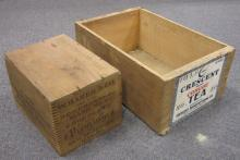 TWO VINTAGE WOODEN ADVERTISING CRATES CRESCENT CONGOU TEA W/PAPER LABEL + W. BAKER CHOCOLATE DORCHESTER MASS. LARGEST IS 16.5